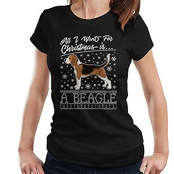 All I Want For Christmas Is A Beagle Knit Pattern Women's T-Shirt