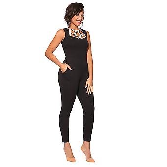 KRISP Diamante Caged Front Jumpsuit