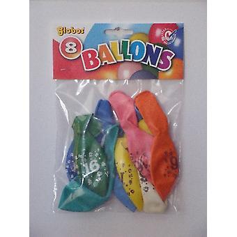 Ballonnen cijfer 16 no. 12 eenzijdig 5 zakjes met 8 stuks
