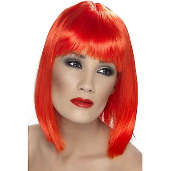 Smiffy's Short Straight Wig Glam Wig With Fringe Fancy Dress Accessory