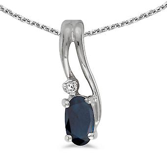 10k White Gold Oval Sapphire And Diamond Wave Pendant with 16