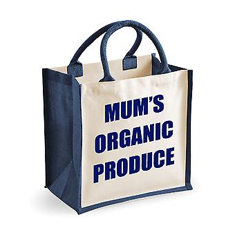 Medium Navy Jute Bag Mum's Organic Produce