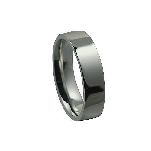 Platinum 6mm plain flat Court shaped Wedding Ring Size Y