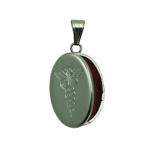 Silver 26x19mm engraved Medical Symbol flat oval Locket