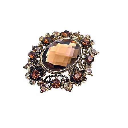 Artistic Small Flowers Sparkling Smoked Topaz Crystals Copper Brooch