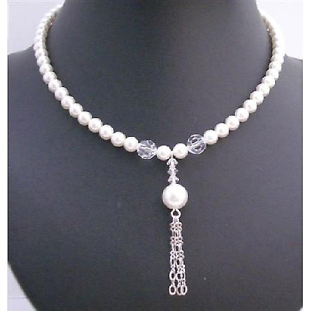 White Pearls Swarovski Pearls 8mm Necklace Tassel Drop Down Necklace