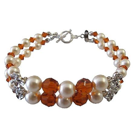 Wife Girl Friend Mother Stylish Swarovski Pearls & Crystals Bracelet