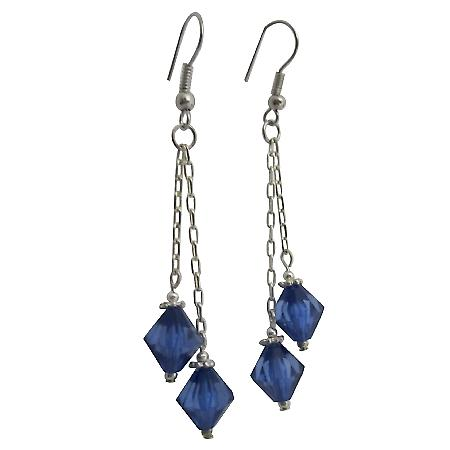 Fancy Sapphire Crystals Dangling Earrings String Stylish Earrings Gift