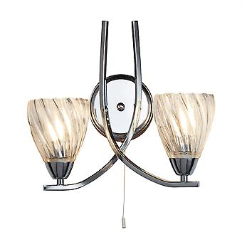 Ascona Ii Chrom und Glas Doppel Wandleuchte - Searchlight 5272-2CC