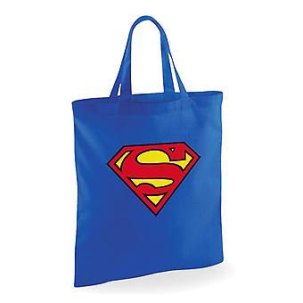 Superman fabric bag printed logo blue, 100% cotton.