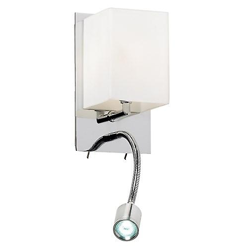 Endon 20010-WBCH Switched Wall Light With Led Flexi Arm & Opal Glass Shade