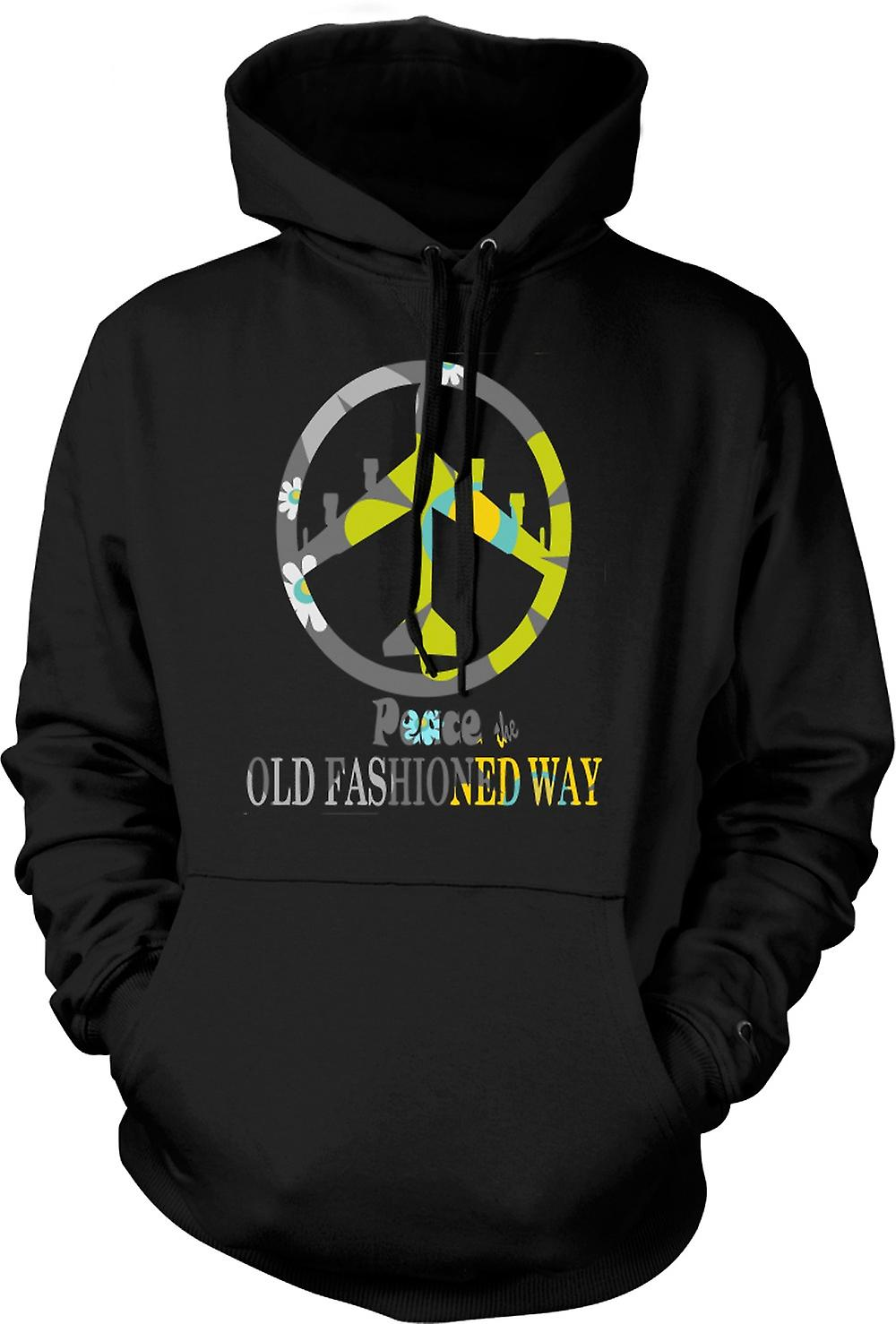 Mens Hoodie - Peace The Old Fashioned Way - B52