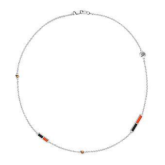 Anaheim Ducks Ducks Logo Engraved Light Citrine 5-Station Necklace In Black And Orange