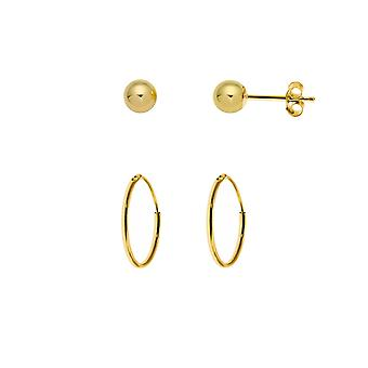 The Olivia Collection Laides, Gents, Children's 9ct Yellow Gold 10mm Hoop Tube Sleeper + 9ct Yellow Gold 4mm Ball Stud Earrings  - 1 Pair Of Each