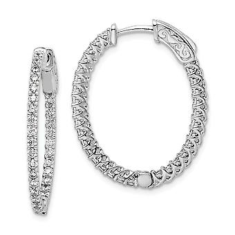 925 Sterling Silver Polished Prong set Hinged hoop Safety clasp Rhodium-plated Rhodium Plated With Cubic Zirconia Hinged