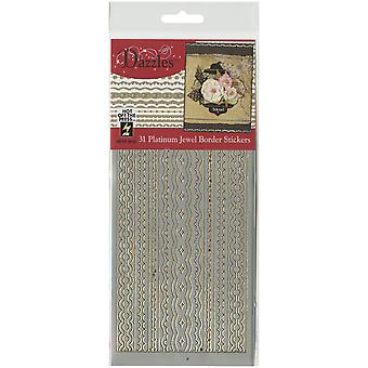 Dazzles Stickers-Platinum Jewel Border - Silver DAZ-2518