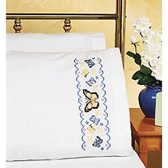 Butterflies Pillowcase Pair Stamped Cross Stitch 20