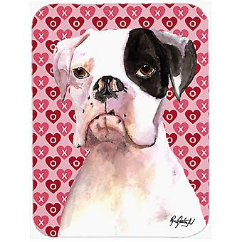 Cooper Love and Hearts Boxer Glass Cutting Board Large