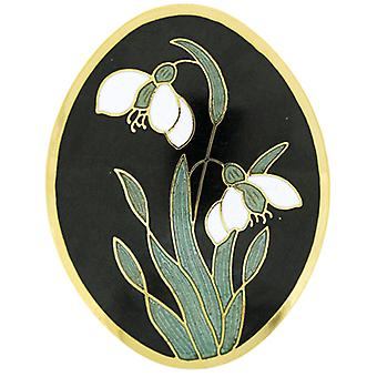 Fine Enamels Black Oval Snowdrop Flower Brooch January Birthday