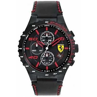 Scuderia Ferrari Mens Speciale Evo Black Leather Strap Black Dial 0830363 Watch