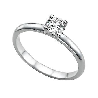 0.7 Carat D VS1 Diamond Engagement Ring 14K White Gold Solitaire Plain Round