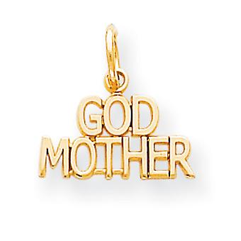 10k Yellow Gold Solid Polished GODMOTHER Charm - .6 Grams
