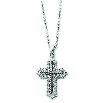 Sterling zilveren Zirkonia Boulder Cross Necklace - 18 Inch