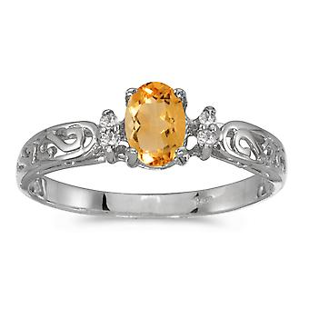 10k White Gold Oval Citrine And Diamond Ring