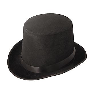 Black Velour Top Hat Fancy Dress Accessory