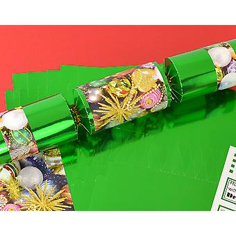8 Green Foil Traditional Christmas Make & Fill Your Own Crackers Kit