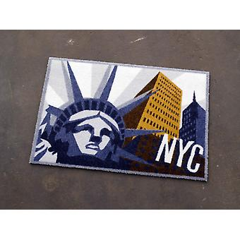 Doormat dirt trapping pad of New York City statue of liberty grey blue 50 x 70 cm. 101930