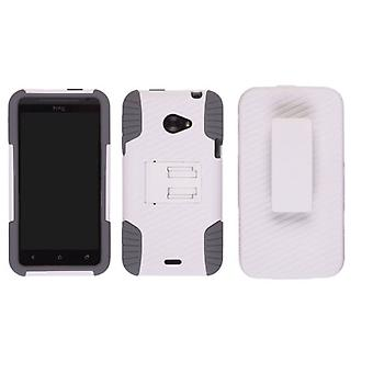 Ventev - Edge Holster/Case Combo for HTC Evo 4G Lte - White PC/ Gray Gel