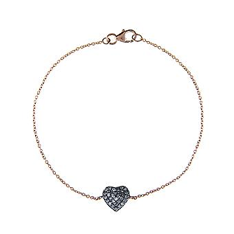 Latelita Sterling Silver Diamond Love Heart Bracelet Delicate Pink Rose Gold