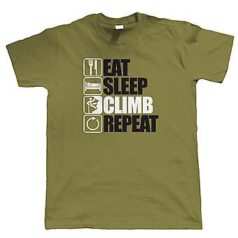 Comer dormir subida Repeat, escalada de montanha T camisa