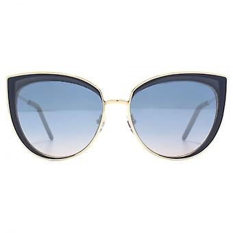 Karl Lagerfeld Metal Cateye Sunglasses In Shiny Light Gold Blue