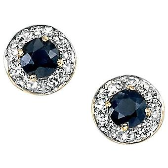 9 CT White Gold Sapphire And Diamond Earring