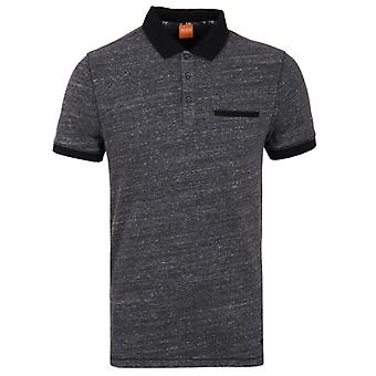 BOSS Orange Push Black Melange Short-Sleeve Polo Shirt