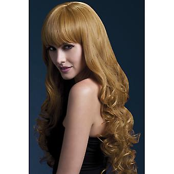Long light brown wig with curl