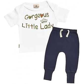 Spoilt Rotten Gorgeous Little Lady Baby T-Shirt & Navy Joggers Outfit Set
