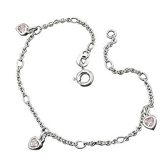 Pink bracelet silver heart Figaro anchor chain cubic zirconia jewellery, Silver 925