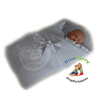 BlueberryShop Thermo Terry Embroidered Swaddle Blanket Newborn Baby Stiffened / Hard  Back (Removable Sponge Insert)