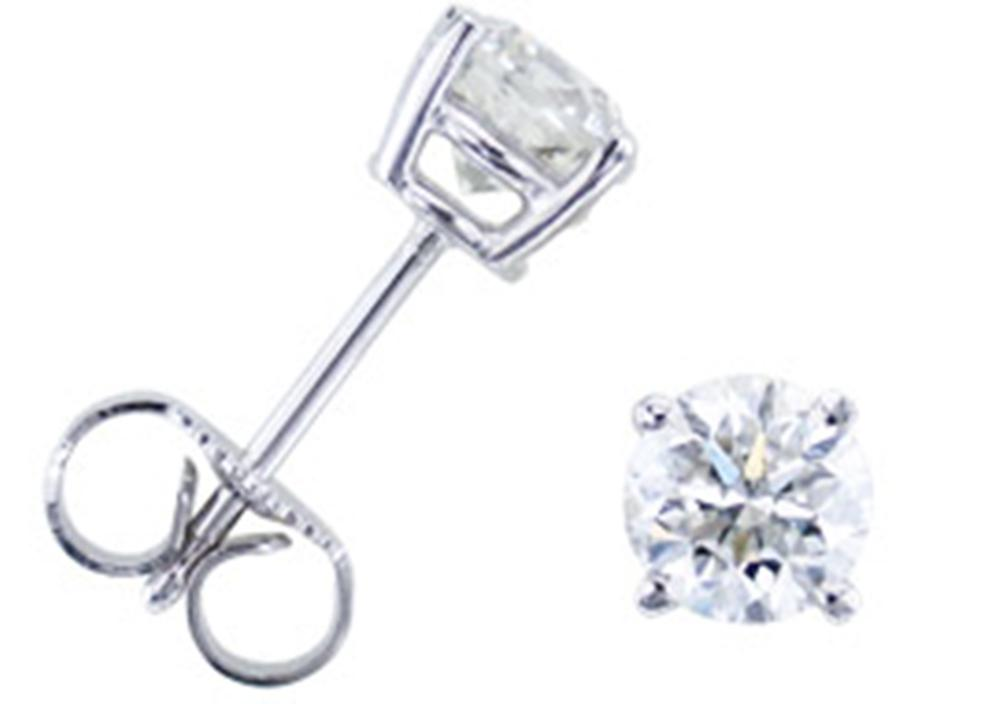 3 8ct Round Diamond Studs Earrings 14K blanc or