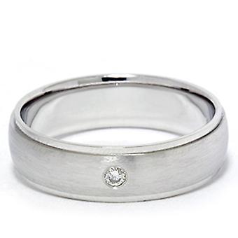 Hombres bisel diamante solitario 14K oro blanco anillo de bodas banda