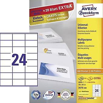 Avery-Zweckform 3475-200 Labels (A4) 70 x 36 mm Paper White 5280 pc(s) Permanent All-purpose labels Inkjet, Laser, Copie
