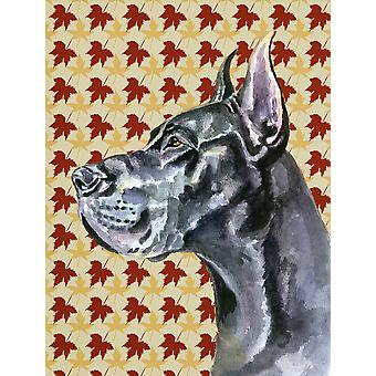Black Great Dane Fall Leaves Flag Canvas House Size