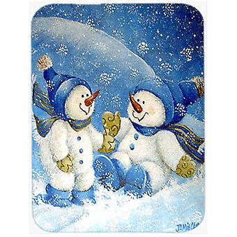 Snowflakes At Play Snowman Glass Cutting Board Large