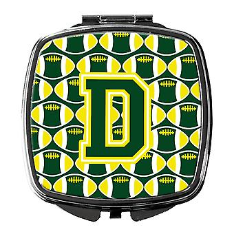 Letter D Football Green and Yellow Compact Mirror