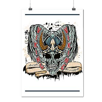 Matte or Glossy Poster with Death Viking Zombie Skull | Wellcoda | *d1296