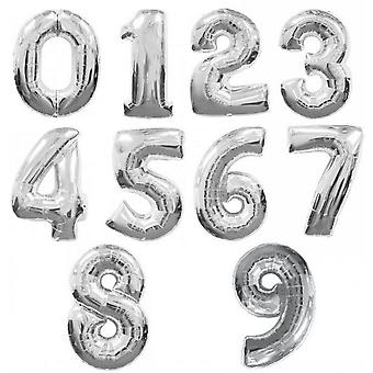 Qualatex 34 Inch Metallic Silver Number Balloons (0-9)