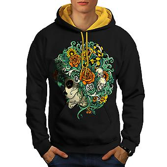 Beautiful Flower Skull Men Black (Gold Hood)Contrast Hoodie | Wellcoda